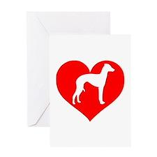 Love Heart Italian Greyhound Greeting Cards