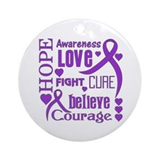 Cystic Fibrosis Hope Words Ornament (Round)