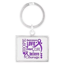 Cystic Fibrosis Hope Words Landscape Keychain