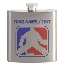 Custom Hockey Goalie League Logo Flask