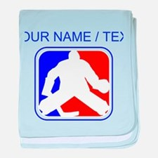 Custom Hockey Goalie League Logo baby blanket