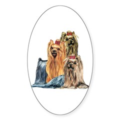 Yorkshire Terrier Yorkie Collage Oval Decal