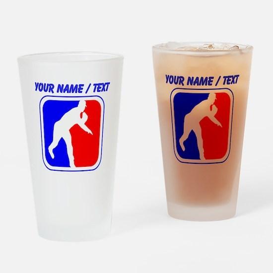 Custom Baseball League Logo Drinking Glass
