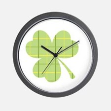 Plaid Shamrock Wall Clock