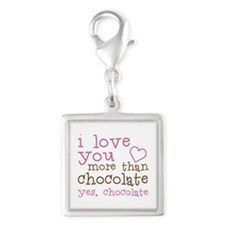 Love Chocolate Silver Square Charm