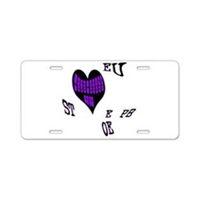 Heart steno Aluminum License Plate