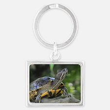 Turtle on a Rock Landscape Keychain