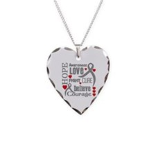 Parkinsons Disease Hope Necklace Heart Charm