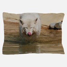 White Wolf Licking His Nose Pillow Case