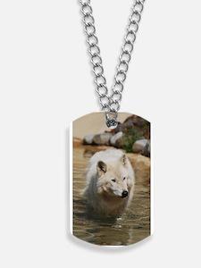 Gorgeous White Wolf Dog Tags