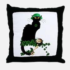 Le Chat Noir, St Patricks Day Throw Pillow