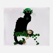 Le Chat Noir, St Patricks Day Throw Blanket