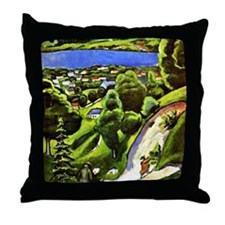 Tegernsee Landscape with Man Reading  Throw Pillow
