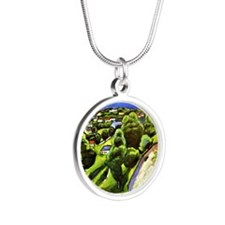 Tegernsee Landscape with Man Silver Round Necklace