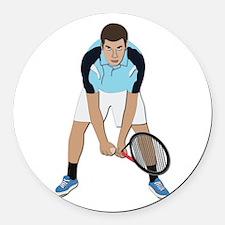 Tennis Player Round Car Magnet