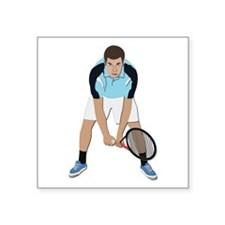 "Tennis Player Square Sticker 3"" x 3"""