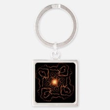 fire spin on black Keychains