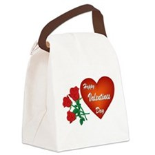 Heart and Roses Canvas Lunch Bag