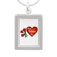 Heart and Roses Silver Portrait Necklace