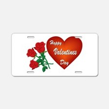 Heart and Roses Aluminum License Plate
