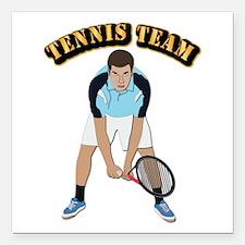 "Tennis Team Square Car Magnet 3"" x 3"""
