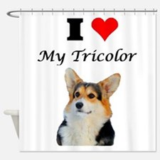 I love my Tricolor Corgi Shower Curtain