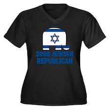Jewish Republican Women's Plus Size V-Neck Dark T-