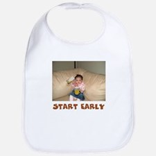 """START EARLY"" Beer drinking baby Bib"