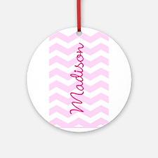 Customized name pink chevron Ornament (Round)