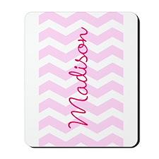 Customized name pink chevron Mousepad