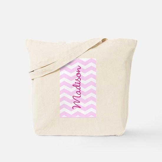 Customized name pink chevron Tote Bag