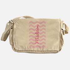 Customized name pink chevron Messenger Bag