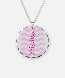 Customized name pink chevron Necklace