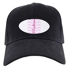 Customized name pink chevron Baseball Cap
