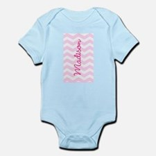 Customized name pink chevron Body Suit