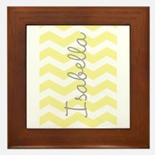 Personalized yellow chevron Framed Tile