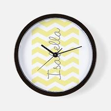 Personalized yellow chevron Wall Clock