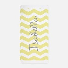 Personalized yellow chevron Beach Towel