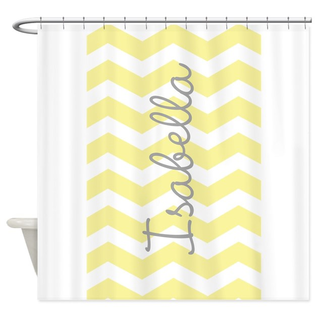 personalized yellow chevron shower curtain by admin cp49789583