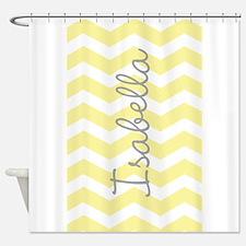 Personalized yellow chevron Shower Curtain