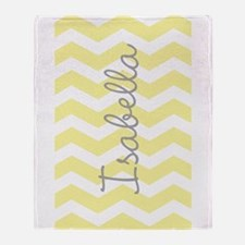 Personalized yellow chevron Throw Blanket
