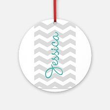 Custom name gray chevron Ornament (Round)