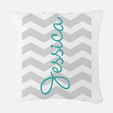 Custom name gray chevron Woven Throw Pillow