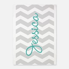 Custom name gray chevron 5'x7'Area Rug