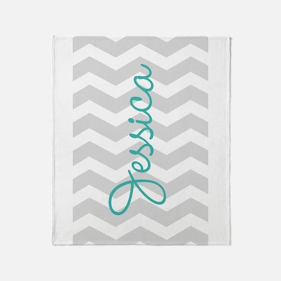 Custom name gray chevron Throw Blanket
