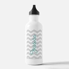 Custom name gray chevron Sports Water Bottle