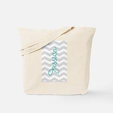 Custom name gray chevron Tote Bag