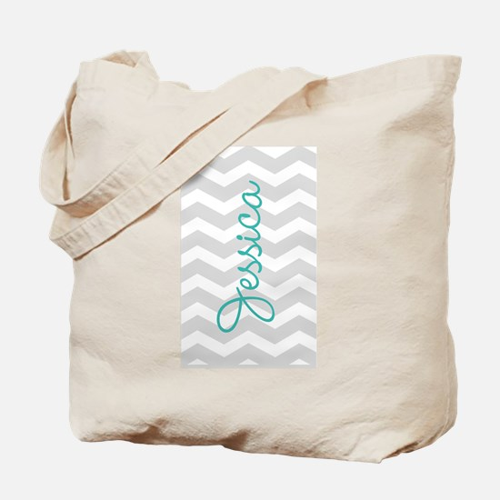 Custom name gray chevron Tote Bag