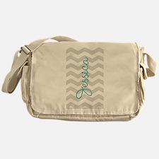 Custom name gray chevron Messenger Bag