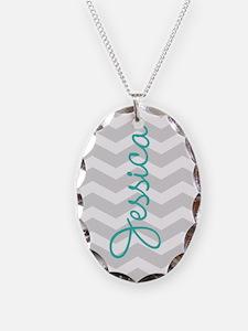 Custom name gray chevron Necklace